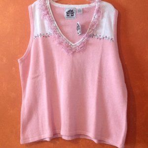 Storybook Knits Fringe Pink White Sweater Vest 2X